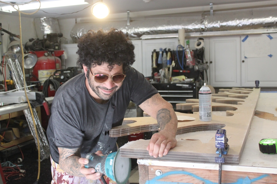Aaron R Thomas building a one-of-a-kind commissioned art piece